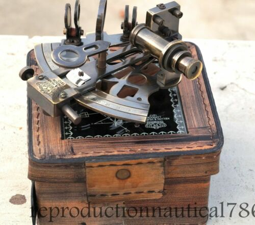 Vintage Solid Brass Maritime Sextant Nautical Survey Navy Sextant W/ Leather Box
