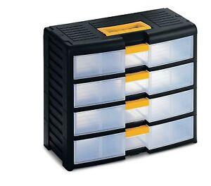 Small parts plastic drawer cabinet van garage craft for Plastic craft storage drawers
