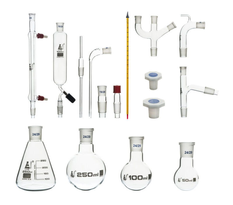 Organic Chemistry Distillation Glassware Set, 17 Piece, 22 Fittings