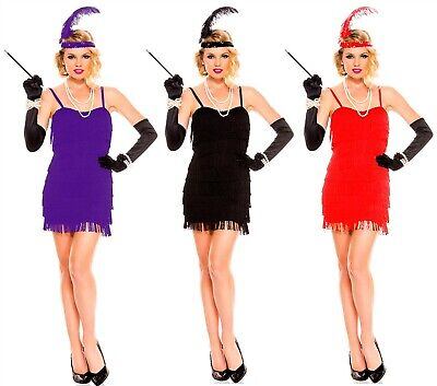 LADIES 1920'S CHARLESTON FRINGE FLAPPER DRESS 20'S FANCY DRESS OUTFIT (Fringe Flapper Kostüm)