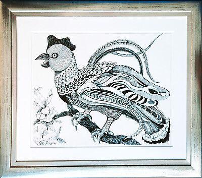 Paradiesvogel Tusche 36 x46 cm 1984 Michaela Krinner 1915-2006 + Buch publiziert