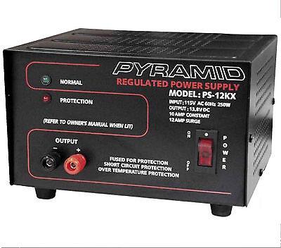 Ps12kx 10-amp 13.8-volt Power Supply Pyramid Converts 120v Ac To 12v Dc Bi