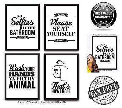 4 Set Funny Bathroom Quotes & Rules Posters Toilet Humor Wall Decor 8x10 Prints