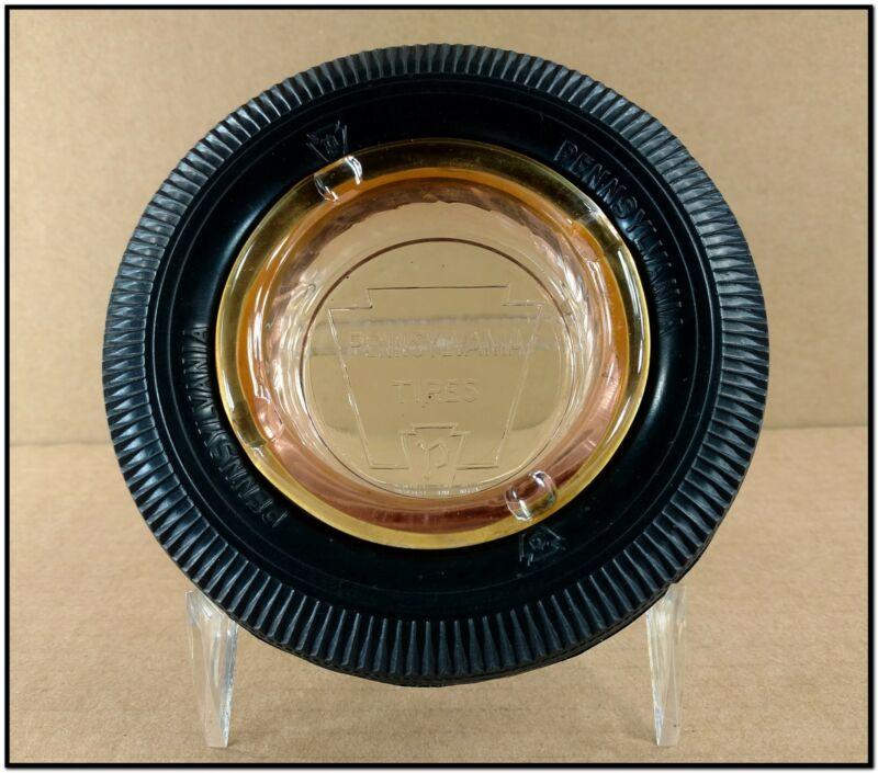 Very Nice VTG Pennsylvania Tire Co Advertising Ashtray Keystone Glass & Rubber