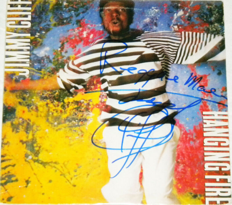 JIMMY CLIFF REGGAE LEGEND HAND SIGNED AUTOGRAPHED HANGING FIRE ALBUM! PROOF +COA