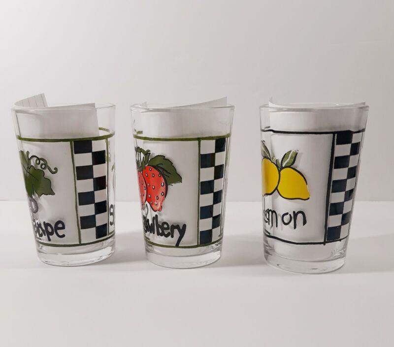 Vintage Retro Juice Glasses, KIG Indonesia Fruit Lemon, Strawberry, Grape, Apple