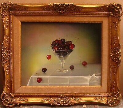 MAGNIFICENT O/B STILL LIFE PAINTING CHERRIES BY TEIMUR AMIRY CALIFORNIA ARTIST