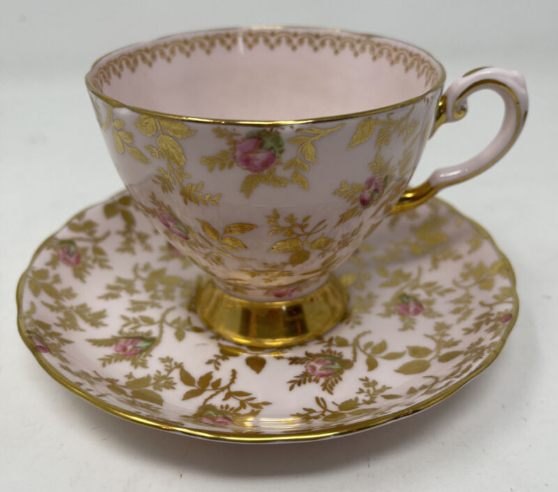 Tuscan Chintz Pink Rose Footed Tea Cup Saucer