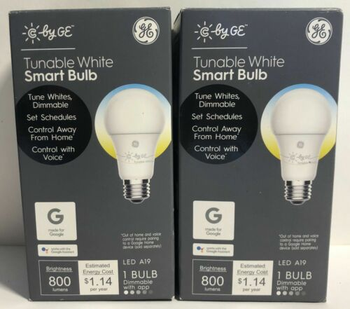 2 Pack GE - C-Sleep A19 Bluetooth Smart LED Light Bulb - Adjustable White #3654