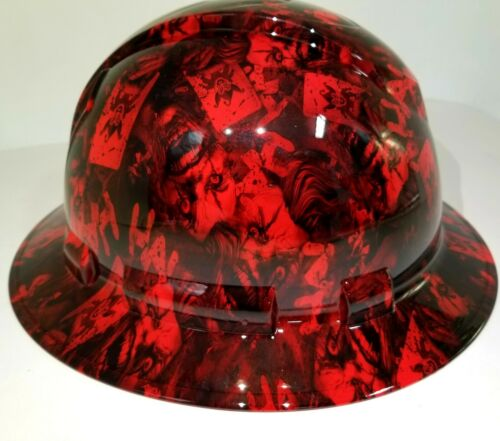 FULL BRIM Hard Hat custom hydro dipped , NEW CANDY RED RADIATION JOKER HA HA 1
