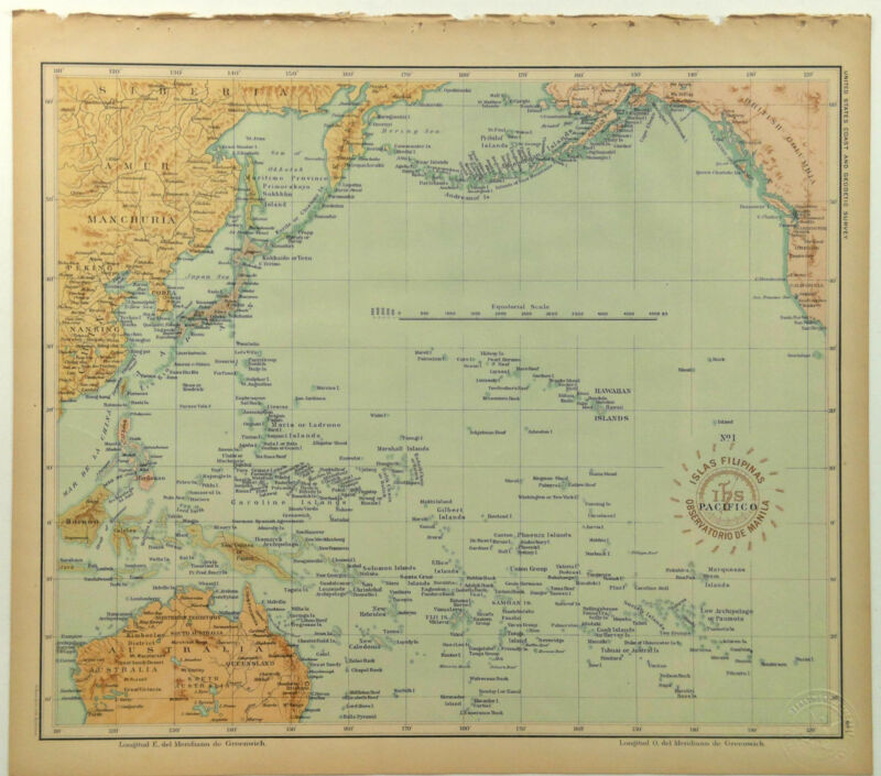 1899 Official Stamped US Navy Map Pacific Ocean Islands US Coast Geodetic Survey