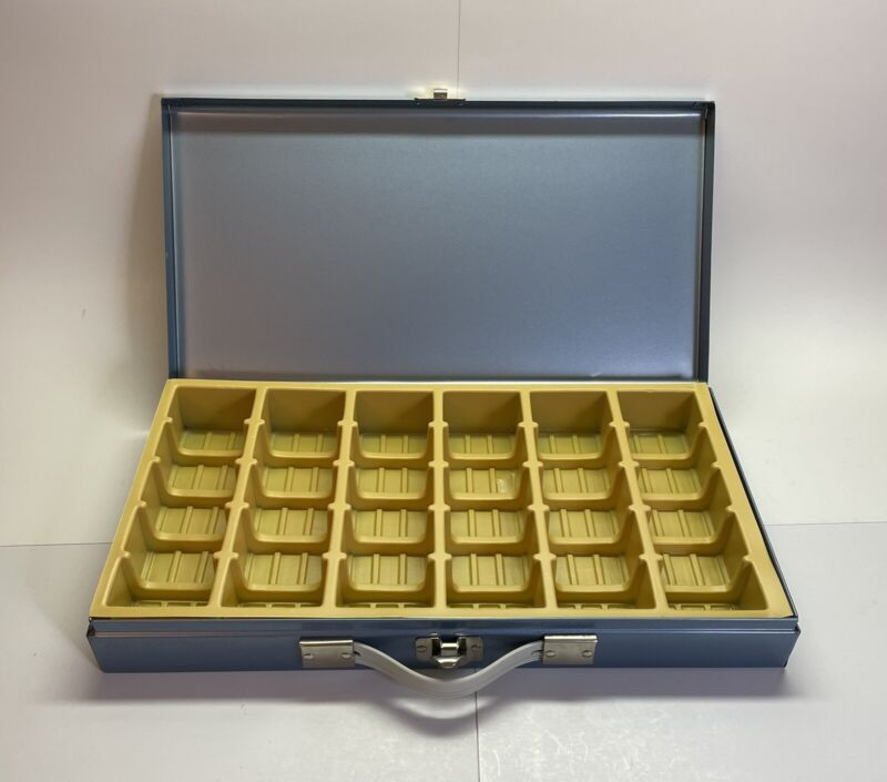 Vintage Metal 35mm Slide or 2x2 Coin Collection Storage Box Holds 150 14.5x7.5x2
