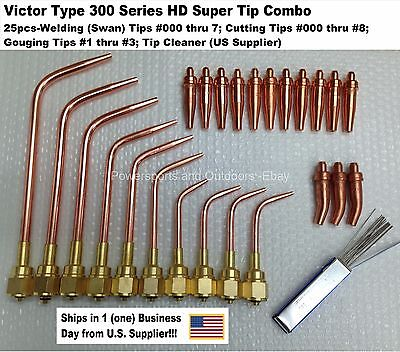 Victor Type Hd 300 Series Super Torch Tip Set Welding Cutting Gouging-25pc