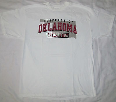 New Mens Womens Property Of Oklahoma 1907 White Tee T Shirt Size Extra Large Xl