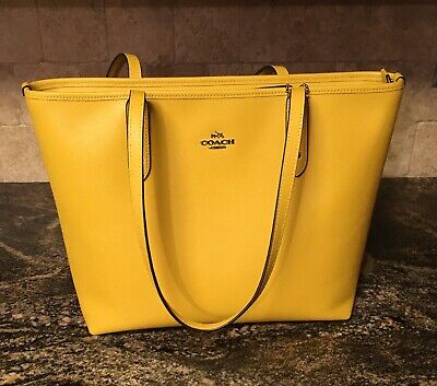Coach F58846 City Zip Tote Yellow Crossgrain Leather Handbag $298 Retail