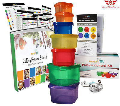 Diet Portion Control Containers Set 21 Day Beachbody Kit Fix Portion 7 Color Set