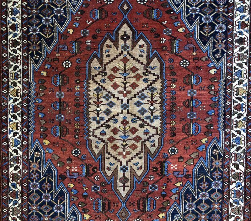 Terrific Tribal - 1940s Antique Oriental Rug - Nomadic Carpet - 4.6 X 6.4 Ft.