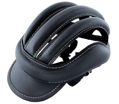 Casco de Ciclismo de Piel Cuero Color Negro Vintage Retro para Bicicleta...