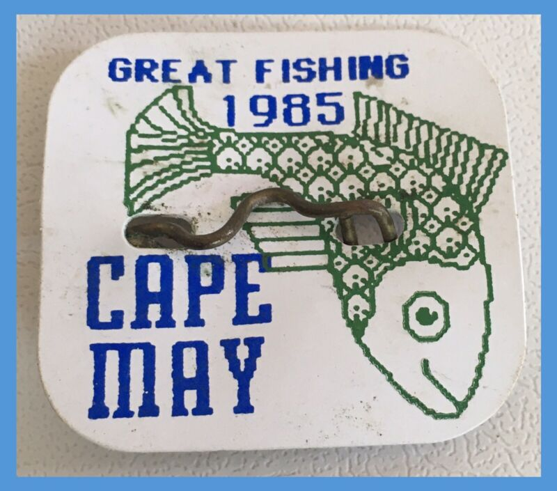 Vintage Cape May New Jersey 1985 BEACH TAG - Great Fishing Design   (P993)