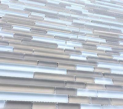 "Santa Monica 12""x12"" Matchstick Glass Mosaic Tile Frosted Backsplash Shower Wall"