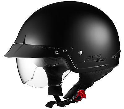 GLX DOT Motorcycle Half Helmet w Shield Cruiser Biker Harley Flat Matte Black