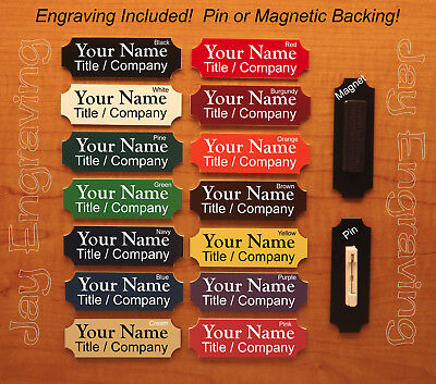 Custom Engraved 1x3 Name Tag Employee Id Badge Pin Or Magnetic Backing Usa