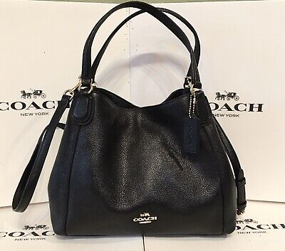 Coach 35983 Edie 28 Black Pebbled Leather Convertible Shoulder Bag