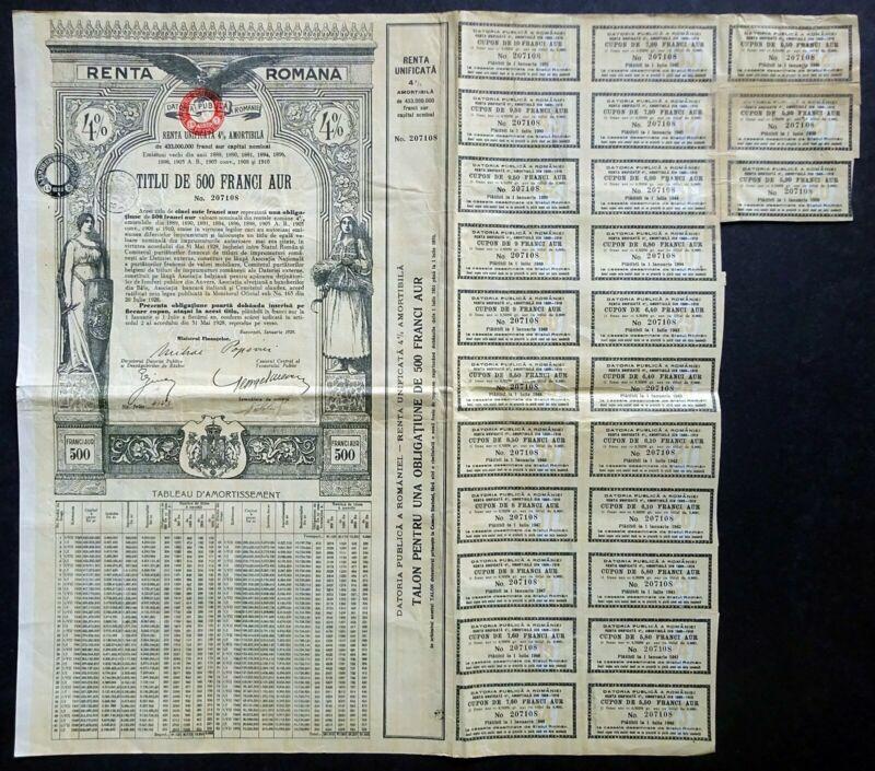 1929 Roumania: Renta Romana, 500 Franci Aur - uncancelled Gold Bond w/ coupons