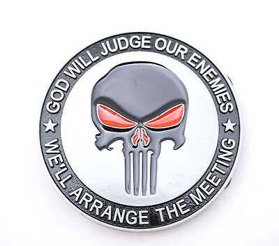 Punisher Skull God Will Judge Novelty Metal Belt Buckle