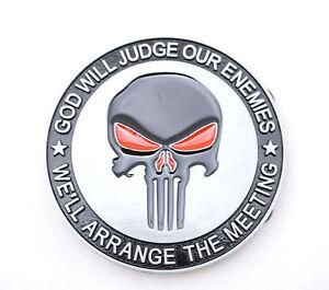 Punisher Skull God Will Judge Novelty Metal Belt Buckle