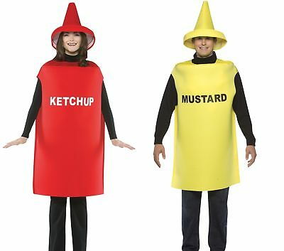 Couples Costumes Mustard & Ketchup Adult Tunic & Hat Halloween Dress - Halloween Costumes Adults Couples