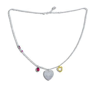 Hearts Charm Red 925 Sterling Silver Necklace Oro Pendant Gold Cz Collar Plata