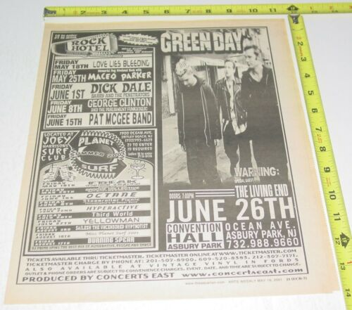 Green Day Punk Rock Concert AD Advert 2001 Tour Convention Hall Asbury Park NJ 2