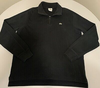 Lacoste Half Zip Long Sleeve Pullover Sweater Jacket Black 6 Extra Large XL
