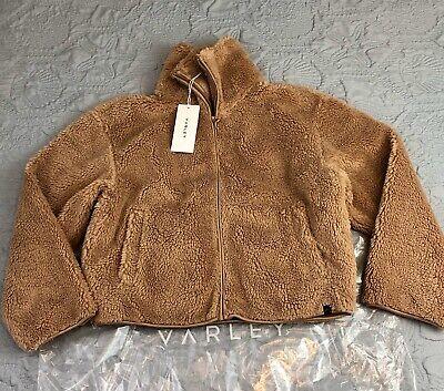 New Varley Highwood  Relaxed Fit Sherpa Jacket Brown Medium 6-8 $175