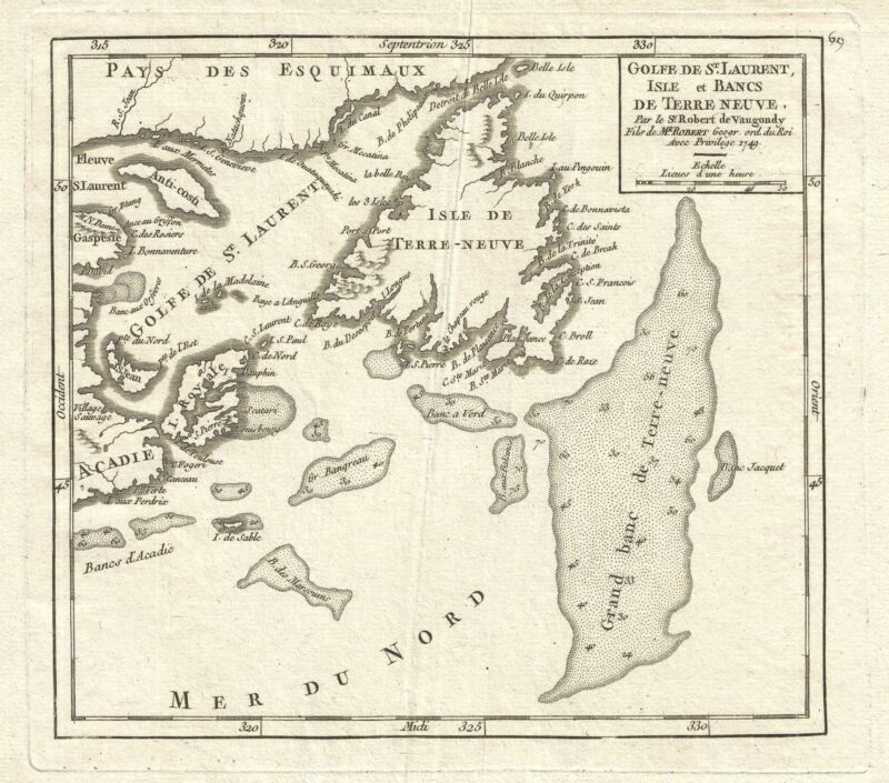1749 Vaugondy Map of the Gulf of Saint Lawrence and Newfoundland