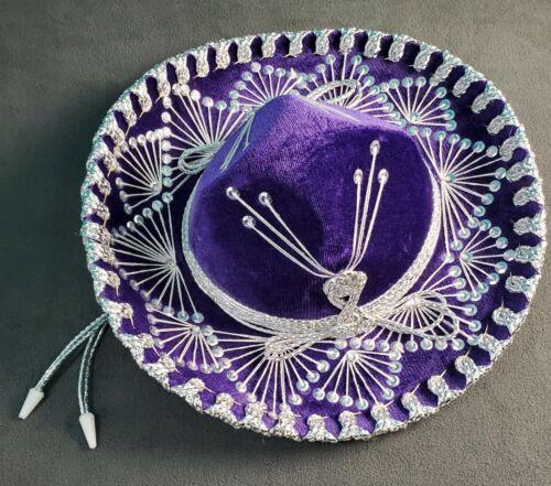 Authentic Salazar Yepez Purple Sombrero Mexican Mariachi Hat Small Silver White