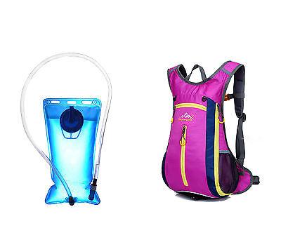 Mochila de Hidratacion IMPERMEABLE de Ciclismo + Bolsa Agua 2L FUCSIA 4353...