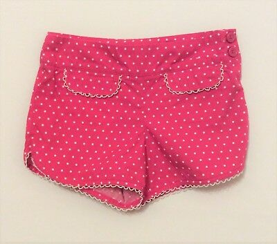 "Gymboree ""Candy Apple"" White Polka Dot Bright Pink Shorts, 6"