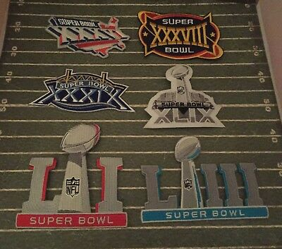 New England Patriots Super Bowl 6 Patch Lot XXXVI XXXVIII XXXIX XLIX LI LIII -