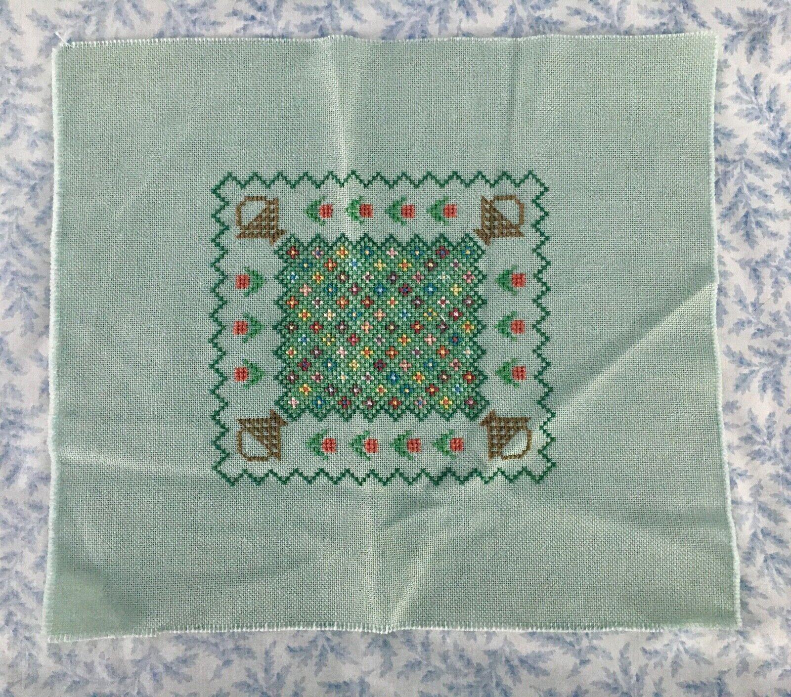 Completed Cross Stitch Basket Garden - $14.99