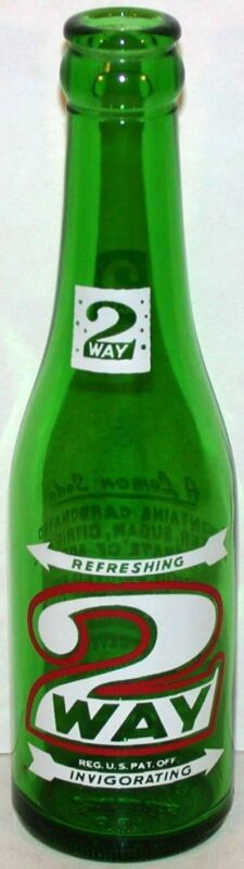Vintage soda pop bottle 2 WAY green 7oz 1952 Drinkmor Beverage Richmond Missouri