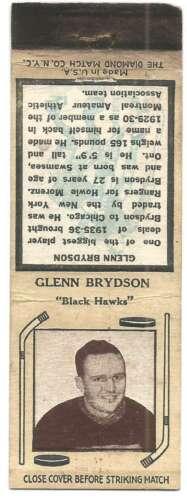 c1935 NHL Hockey Matchbook Glenn Brydson Chicago Blackhawks