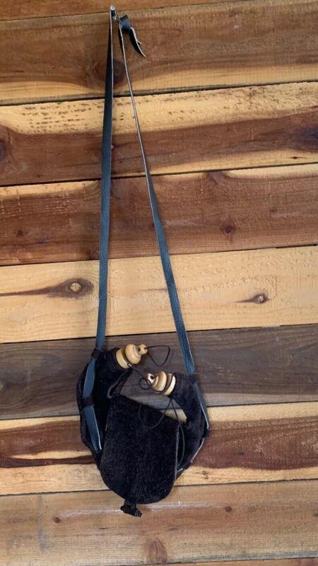 Renaissance Leather/ Suede Double Spout Bota Bag And Pouch