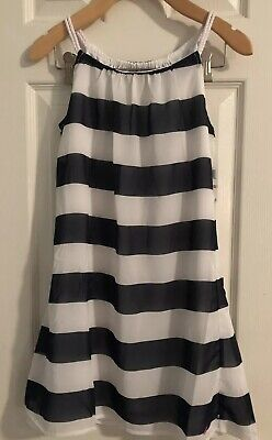 Nautica Girls Blue White Striped Lined Dress 10 New With Tags