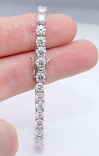 17ct 5mm Moissanite Diamond Tennis Bracelet 14k White Gold Sterling Silver