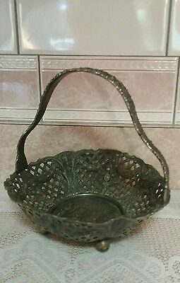 Antique Silver Plated Brides Basket-Derby Silver Co. Embossed Victorian Scene