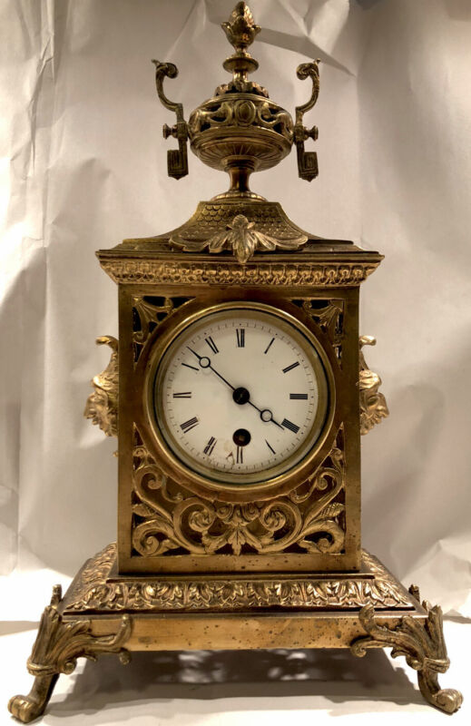 Antique French Brass/Bronze Gothic Table Clock
