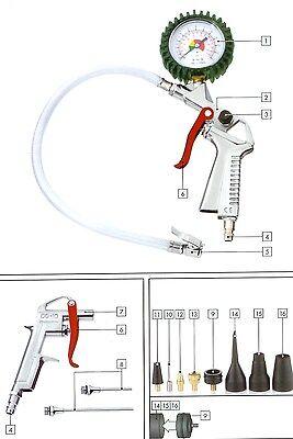 Druckluft Zubehör Set Reifenfüllmessgerät, Ausblaspistole, Adapter, Kompressor   (Luft Kompressor Zubehör)