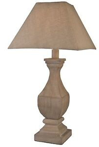 large rustic solid natural wood traditional urn table lamp squared shade new. Black Bedroom Furniture Sets. Home Design Ideas